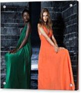 Two Beautiful Women In Elegant Long Dresses Acrylic Print