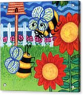 Two Bees With Red Flowers Acrylic Print by Genevieve Esson