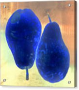 Two Blue Pears On Peach  Side By Side Acrylic Print