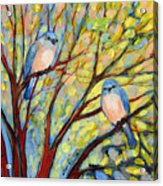Two Bluebirds Acrylic Print by Jennifer Lommers