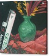 Two Books With Green Vase Acrylic Print