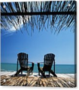 Two Chairs On Deck By Ocean Shaded By Acrylic Print