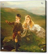 Two Children Fishing In Scotland   Acrylic Print