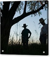 Two Children In Cowboy Hats Acrylic Print