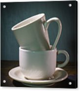 Two Coffee Cups On Saucer Acrylic Print
