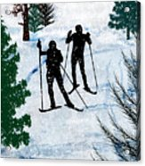 Two Cross Country Skiers In Snow Squall Acrylic Print