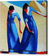 Two Dancers With Three Pyramids Acrylic Print