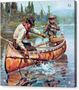 Two Fishermen In Canoe Acrylic Print