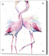 Two Flamingos Watercolor Famingo Love Acrylic Print
