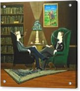 Two Gentlemen Sitting In Wingback Chairs At Private Club Acrylic Print