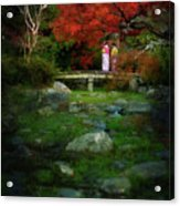 Two Girls In Kimono Standing On A Bridge In Japanese Garden In A Acrylic Print