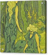 Two Girls Next To The Head Of Orpheus Acrylic Print