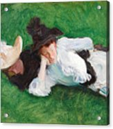 Two Girls On A Lawn Acrylic Print
