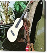 Two Guitars On A Shoe Chair Acrylic Print