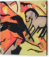 Two Horses Acrylic Print by Franz Marc