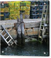 Two Ladders At High Tide Acrylic Print
