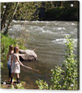 Two Little Girls Playing By The River Acrylic Print