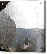 Two Men Exploring Tar Creek Waterfalls Acrylic Print