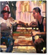 Two Men On A Bench Acrylic Print