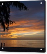 Two Men Walking On Sunset Acrylic Print