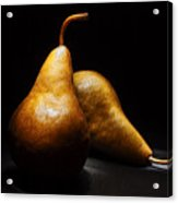 Two Pears Light Painted On Black Background Acrylic Print
