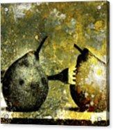 Two Pears Pierced By A Fork. Acrylic Print by Bernard Jaubert