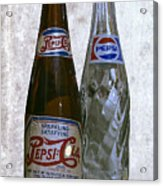 Two Pepsi Bottles On A Table Acrylic Print by Daniel Hagerman