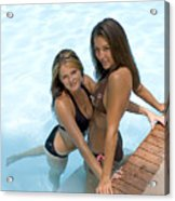 Two Pretty Women In A Pool. Acrylic Print