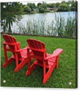 Two Red Chairs Overlooking Lake Formosa Acrylic Print