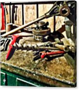 Two Red Wrenches On Plumber's Workbench Acrylic Print
