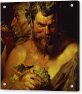 Two Satyrs Acrylic Print by Peter Paul Rubens