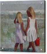 Two Sisters And Red Bucket Acrylic Print