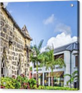 Two Solitudes, Holetown Church And Limegrove Mall, Barbados Acrylic Print