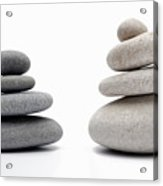 Two Stacks Of White And Gray Pebbles Acrylic Print