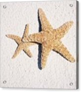 Two Starfish On The White Sand Acrylic Print
