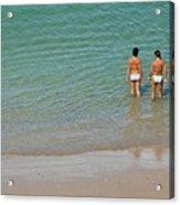 Two Teenage Girls Bathing At The Beach Acrylic Print