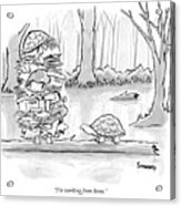 Two Tortoises Speak. One Has A Large Number Acrylic Print