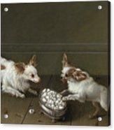 Two Toy Spaniels At A Sugar Bowl Acrylic Print