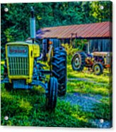 Two Tractors And A Barn 2697t Acrylic Print