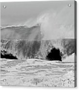 Two Waves Are Better Than One - Jersey Shore Acrylic Print by Angie Tirado