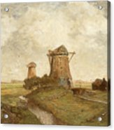 Two Windmills Between Abcoude And Ouderkerk On The Amstel Acrylic Print