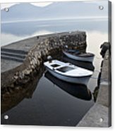 Two Wooden Boats In A Little Bay In The Morning Acrylic Print