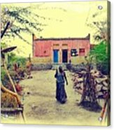 Typical House India Rajasthani Village 1j Acrylic Print