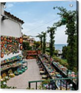 Typical Shop Display Of Ceramics For Sale In Positano, Amalfi Co Acrylic Print