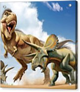 Tyrannosaurus Rex Fighting With Two Acrylic Print by Mohamad Haghani