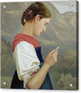 Tyrolean Girl Contemplating A Crucifix Acrylic Print