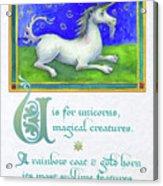 U Is For Unicorn Acrylic Print