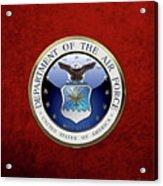 U. S.  Air Force  -  U S A F Emblem Over Red Velvet Acrylic Print