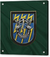 U. S.  Army 12th Special Forces Group - 12 S F G  Beret Flash Over Green Beret Felt Acrylic Print