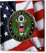 U. S. Army Emblem Over American Flag. Acrylic Print